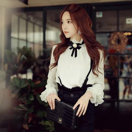 Women Slim Bow Tie Lace Shirt Long Sleeve Blouse