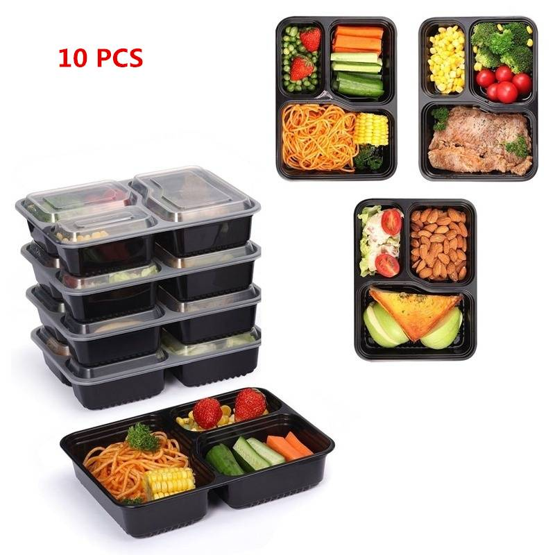 1 5 10pcs food storage containers lunch box picnic microwave dishwasher plastic ebay. Black Bedroom Furniture Sets. Home Design Ideas