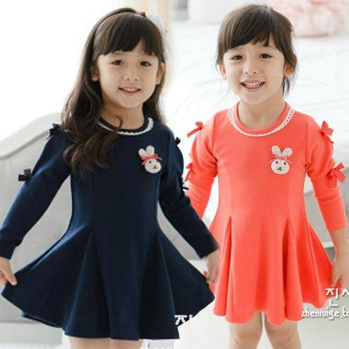 Korean Style Girls Cotton Princess Dress,
