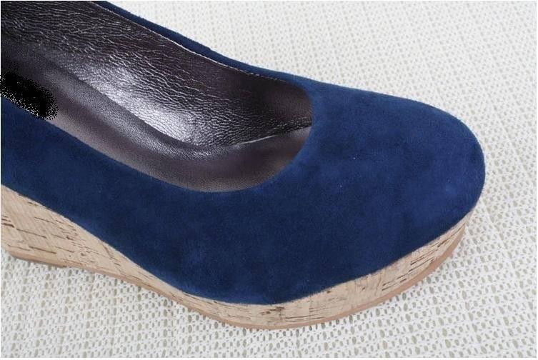Star style PU leather sheepskin wedges-4