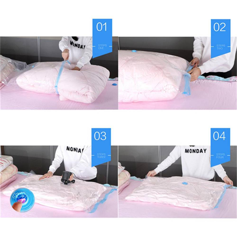 2018 hand roll transparent vacuum compressible bag foldable clothing