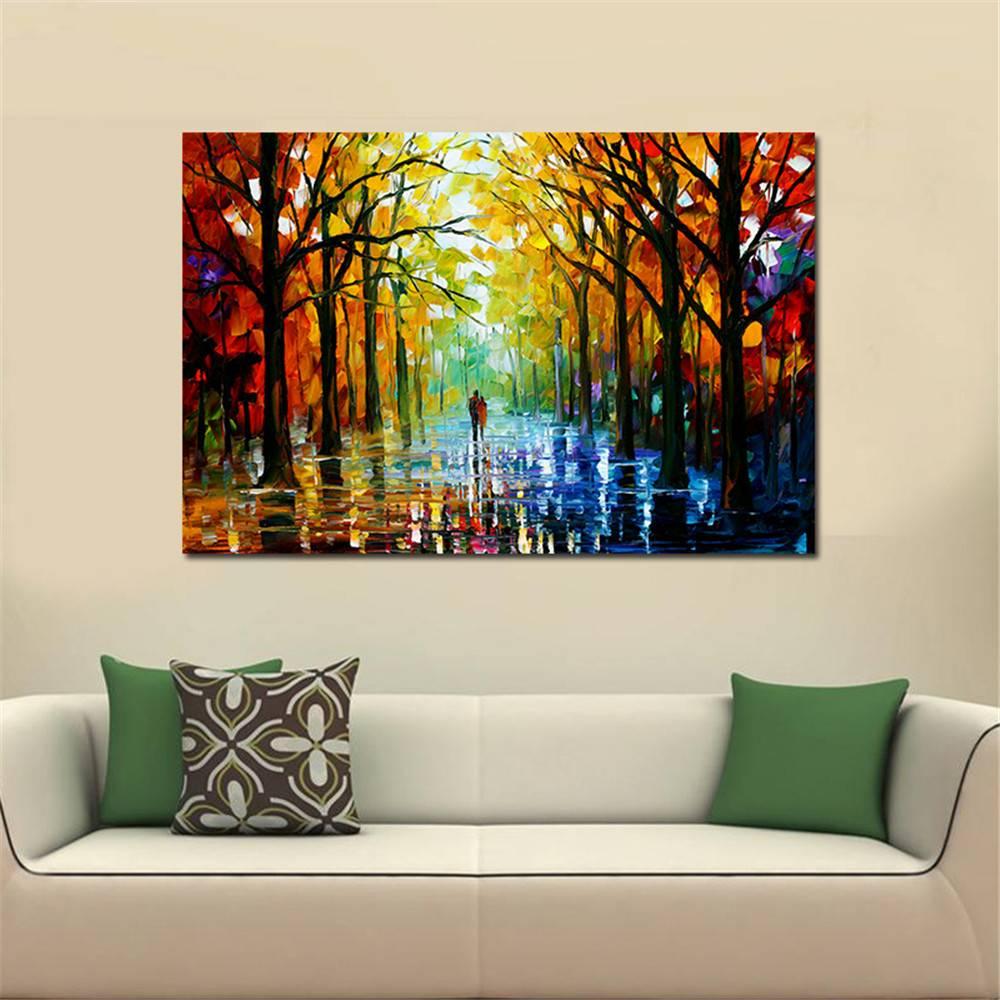 Frameless Canvas Art Oil Painting Flower Painting Design: 2019 Frameless Huge Wall Art Oil Painting On Canvas Forest