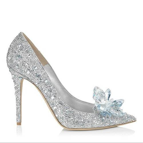 Crystal shoes silver Rhinestone Wedding shoes High-heeled Single shoes-1