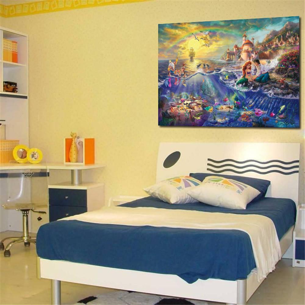 Room Decor Cartoon Huge On Canvas Mermaid Princess Oil Painting Wall ...