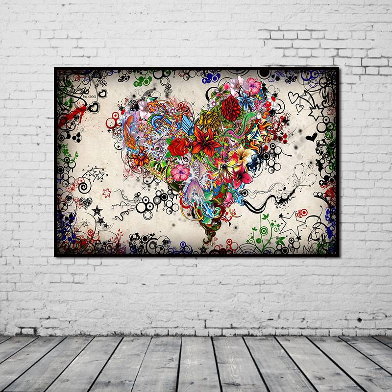 Image is loading colorful flowers heart modern huge wall decor oil