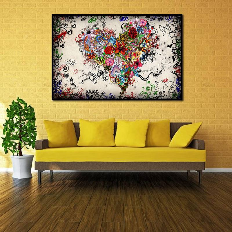 Colorful flowers heart modern huge wall decor oil