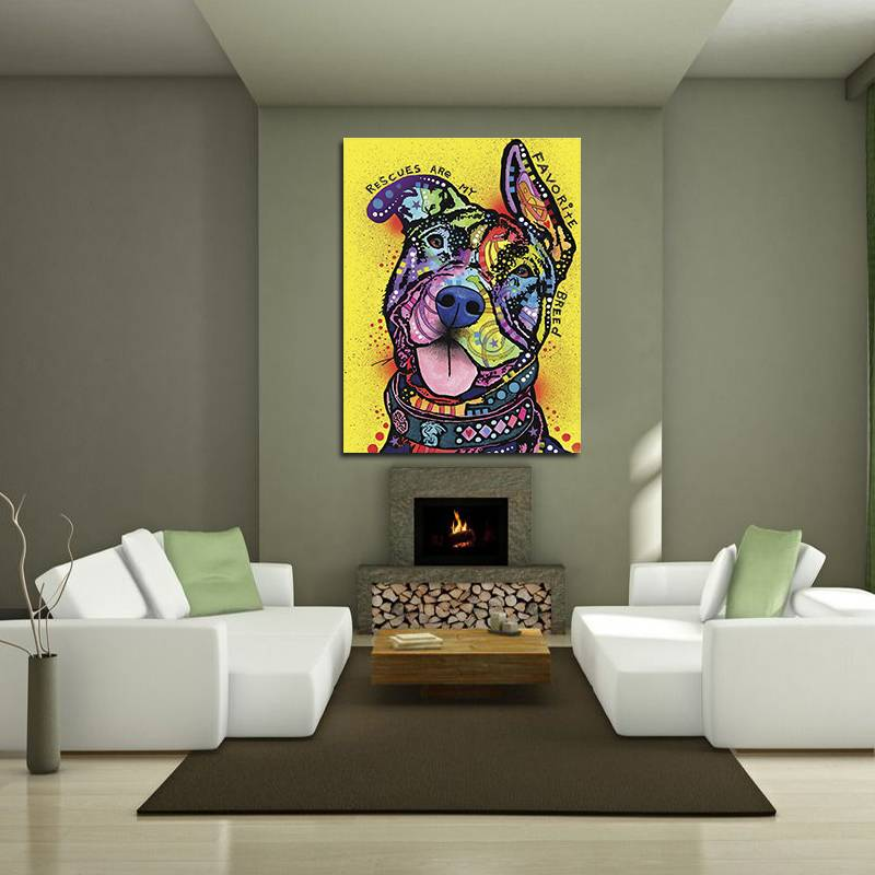 Unframed Modern Abstract Oil Painting Colorful Dog Huge Wall Decor