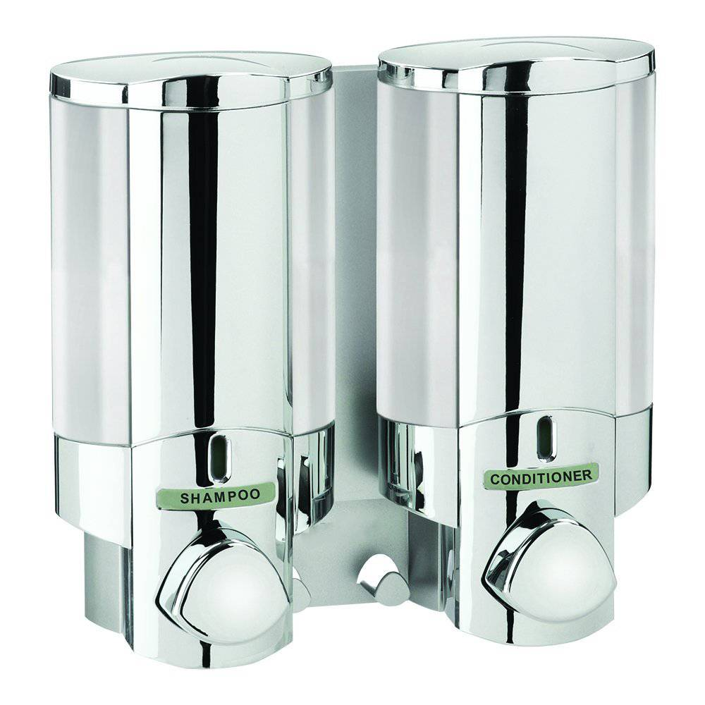 and dispenser shower large collections for soap gel chrome bathroom double dispensers shampoo chamber luxxur