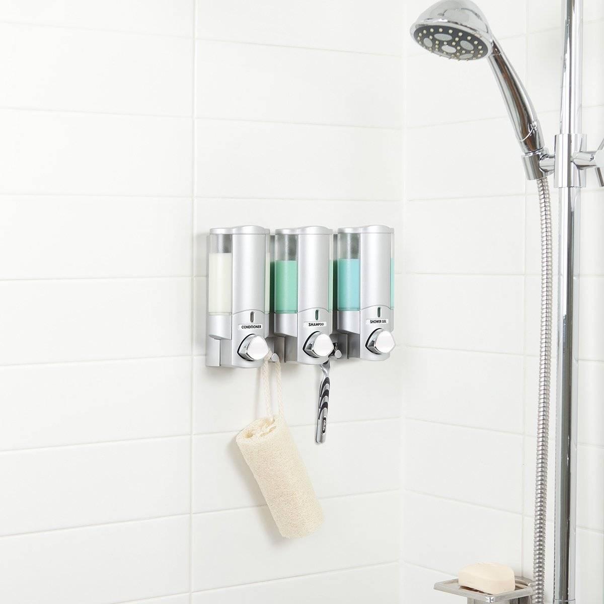 Bathroom Shower Dispenser Pump Liquid Soap Shampoo Holder Wall Mount ...