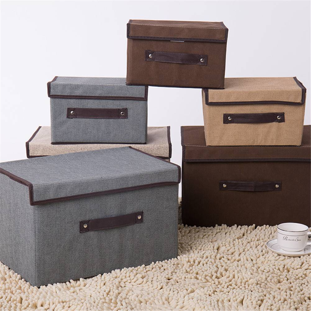 2pcs*Cotton And Linen Storage Box With Cap
