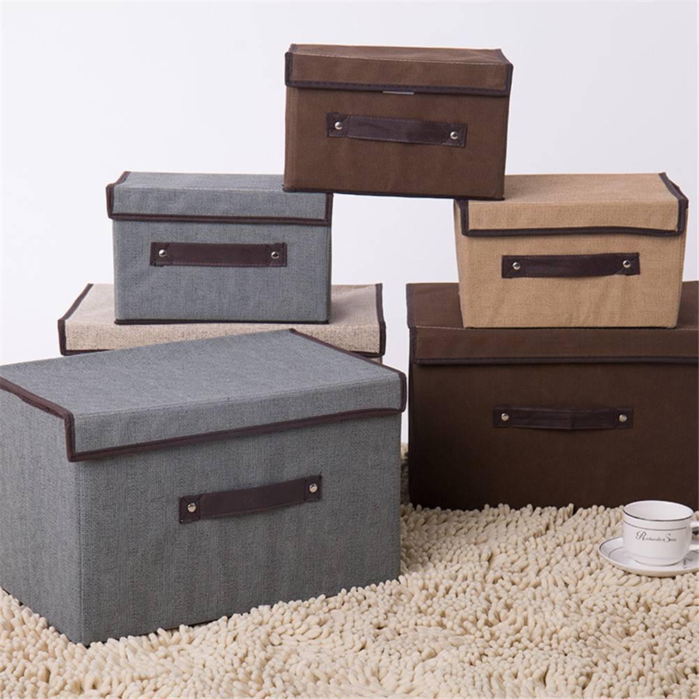 2pcs*Cotton And Linen Storage Box With Cap