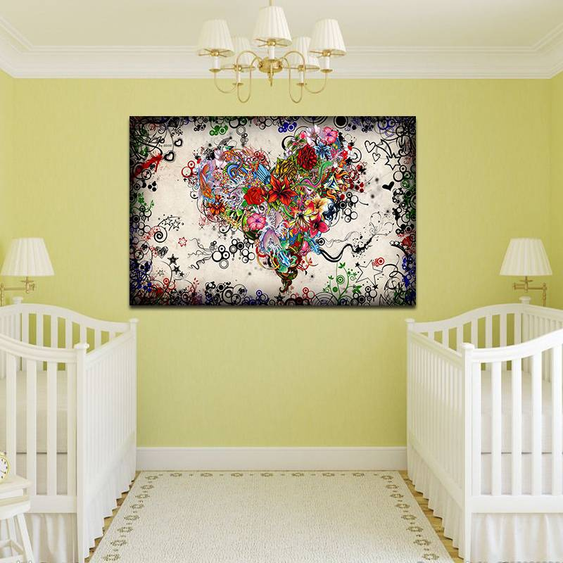 Colorful Flowers Heart Modern Huge Wall Decor Oil Painting On Canvas ...